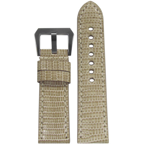 24mm RIOS1931 Beige Genuine Lizard, Premium Cut Watch Strap with Match Stitching | Panatime.com