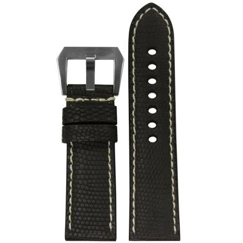 24mm RIOS1931 Black Matte Genuine Lizard, Premium Cut Watch Strap with White Stitching | Panatime.com