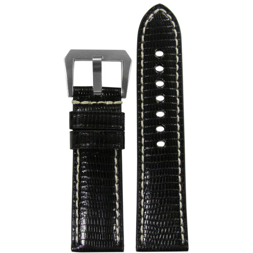 24mm Black Polished Genuine Lizard ,Premium Cut Watch Strap with White Stitching | Panatime.com