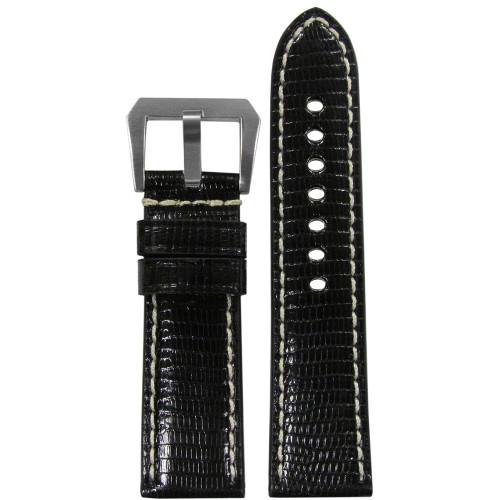 24mm Black Polished Genuine Lizard ,Premium Cut Watch Strap with White Stitching | Panatime.com
