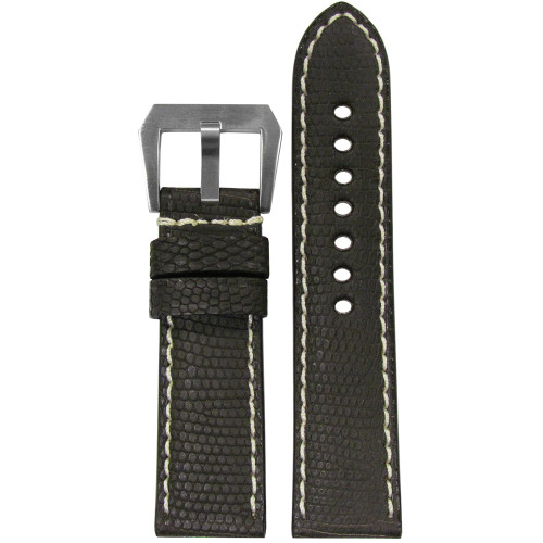 24mm Dark Brown Genuine Lizard, Premium Cut Watch Strap with White Stitching | Panatime.com