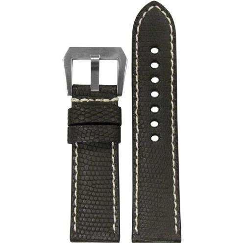 24mm Dark Brown Genuine Lizard, Premium Cut Watch Strap with White Stitching | Panatime.com