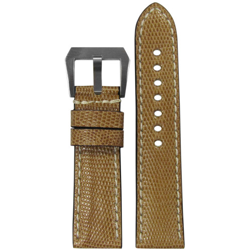 24mm RIOS131 Khaki Genuine Lizard, Premium Cut Watch Strap with White Stitching | Panatime.com