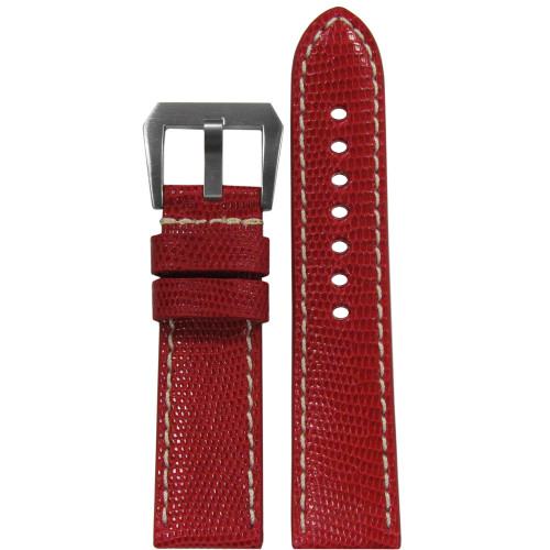 24mm RIOS1931 Red Genuine Lizard, Premium Cut Watch Strap with White Stitching | Panatime.com