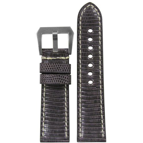 24mm RIOS1931 Stone Grey Genuine Lizard, Premium Cut Watch Strap with White Stitching | Panatime.com