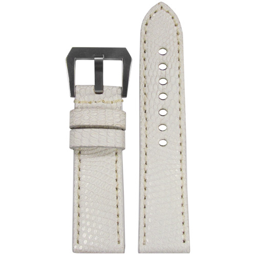 24mm White Genuine Lizard, Premium Cut Watch Strap with Match Stitching | Panatime.com