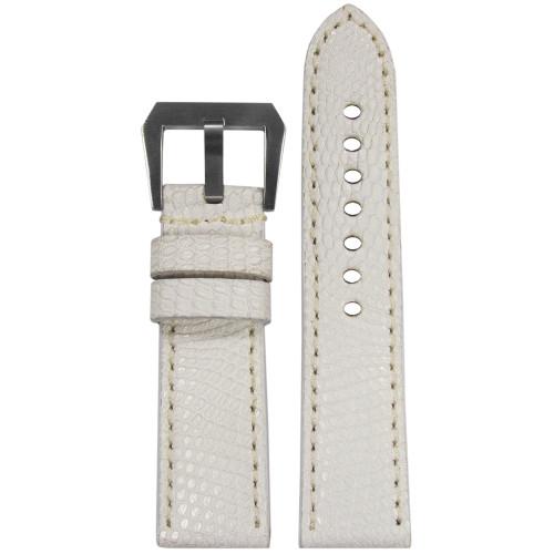 24mm White Genuine Lizard, Premium Cut Watch Strap with Match Stitching | Panatime.com