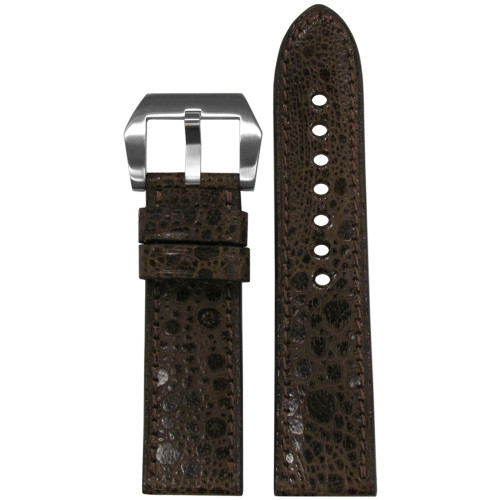 24mm RIOS1931 Limited Edition Brown Genuine Toad Watch Strap with Match Stitching | Panatime.com