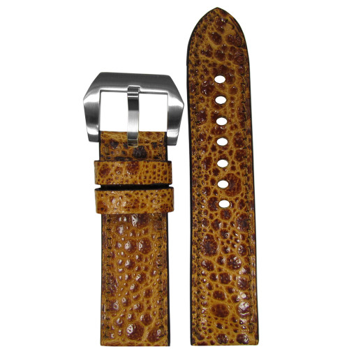 24mm RIOS1931 Limited Edition Golden Genuine Toad Watch Strap with Match Stitching | Panatime.com