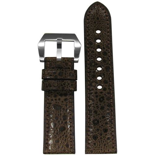 24mm RIOS1931 Limited Edition Mocha Genuine Toad Watch Strap with Match Stitching | Panatime.com