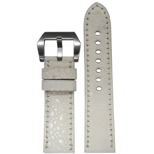 24mm RIOS1931 Limited Edition White Genuine Toad Watch Strap with Match Stitching | Panatime.com