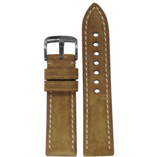 20mm RIOS1931 Khaki Velours Genuine Leather Watch Strap with White Stitching | Panatime.com