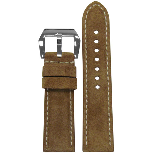 24mm RIOS1931 Khaki Velours Genuine Leather Watch Strap with White Stitching | Panatime.com