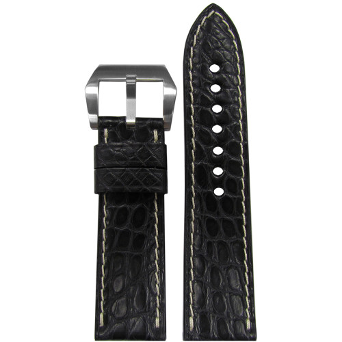 24mm (XL) RIOS1931 Black Matte Genuine Premium Cut Alligator Skin Watch Strap with White Stitching | Panatime.com