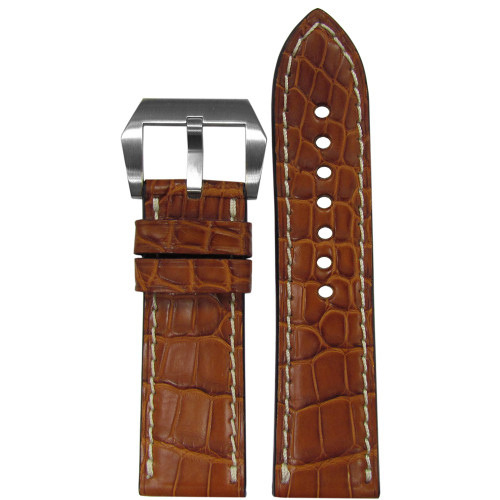 24mm (XL) RIOS1931 Cognac Matte Genuine Premium Cut Alligator Skin Watch Strap with White Stitching | Panatime.com