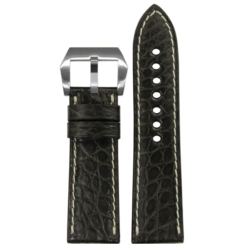 24mm (XL) Mocha Matte Genuine Premium Cut Alligator Skin Watch Strap with White Stitching | Panatime.com