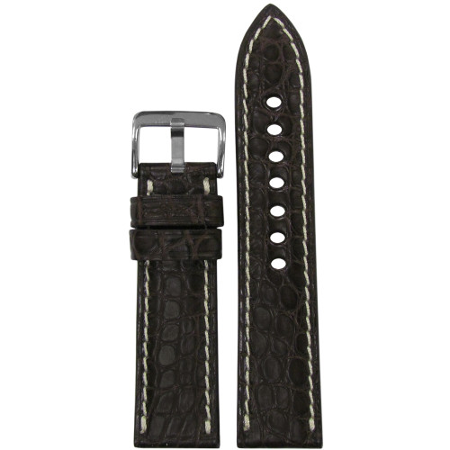 20mm (XL) Mocha Matte Genuine Alligator Skin - Padded, Flank Cut, White Stitching | Panatime.com
