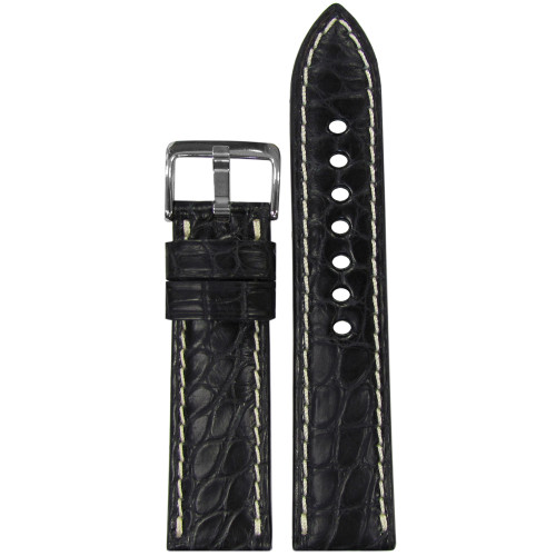 22mm (XL) Black Matte Genuine Alligator Skin - Padded, Flank Cut, White Stitching | Panatime.com