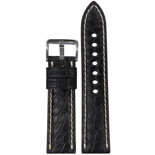 22mm (XL) Black Matte Genuine Alligator Skin - Padded, Flank Cut, White Stitching | Panatime.com