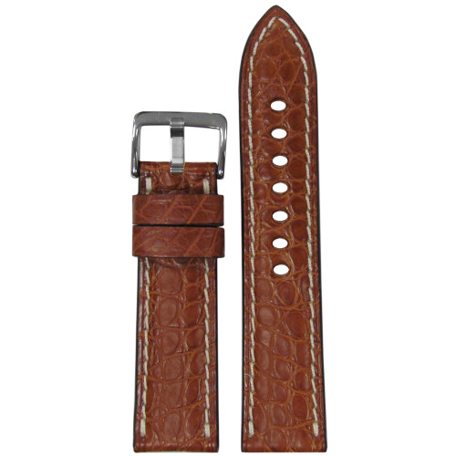 22mm (XL) RIOS1931 Cognac Matte Genuine Alligator Skin - Padded, Flank Cut, White Stitching | Panatime.com