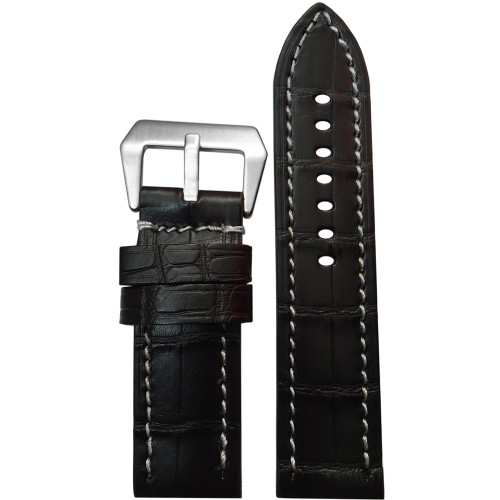 22mm Black Matte Genuine Alligator Skin - Flat, White Stitching | Panatime.com