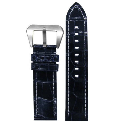 26mm (XL) Darkest Blue Glossy Genuine Alligator Skin - Flat, White Stitching | Panatime.com