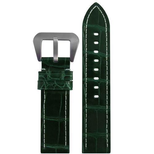 26mm (XL) Green Glossy Genuine Alligator Skin - Flat, White Stitching | Panatime.com