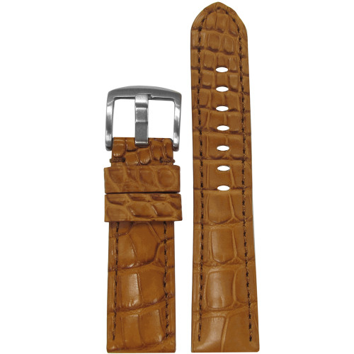 20mm Honey Matte Genuine Louisiana Alligator Skin - Padded, Match Stitching | Panatime.com