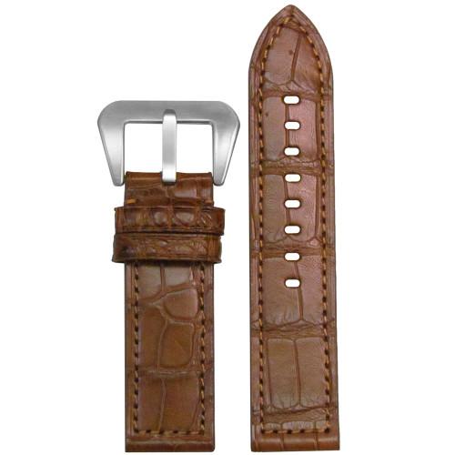 26mm Chestnut Matte Genuine American Alligator Skin - Flat, Match Stitching | Panatime.com