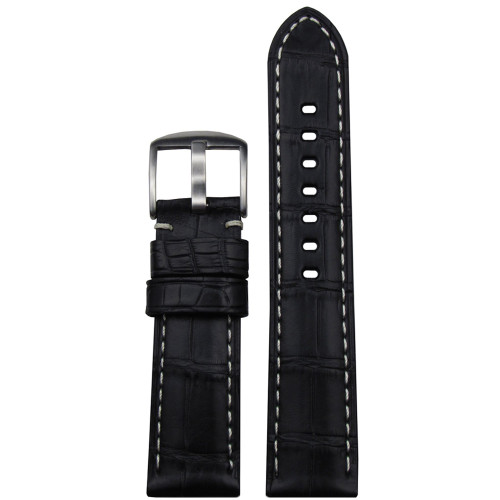 24mm (XL) Black Matte Genuine Louisiana Alligator Skin - Padded, White Stitching | Panatime.com