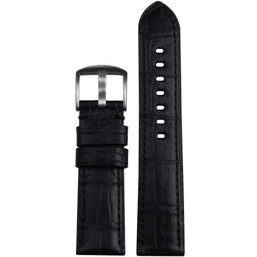 22mm (XL) Black Matte Genuine Louisiana Alligator Skin - Padded, Match Stitching | Panatime.com