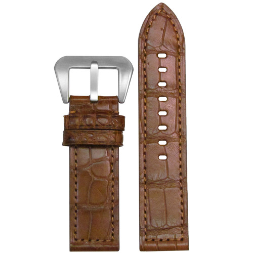 26mm (XL) Chestnut Matte Genuine American Alligator Skin - Flat, Match Stitching | Panatime.com