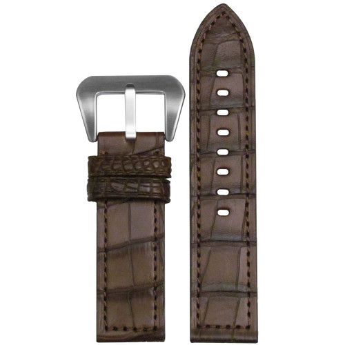 26mm (XL) Brown Matte Genuine American Alligator Skin - Flat, Match Stitching | Panatime.com