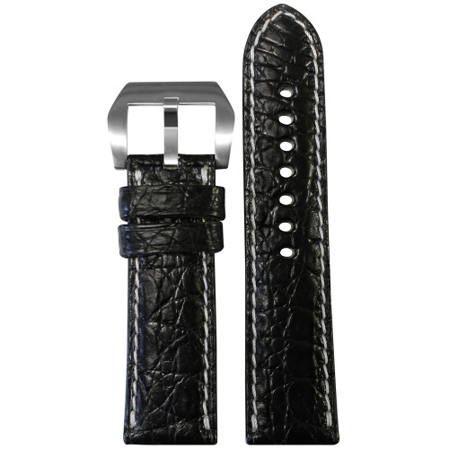24mm Black Matte Genuine Crocodile Skin - Premium Cut, White Stitching | Panatime.com