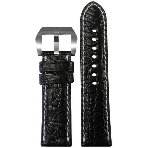 24mm Black Matte Genuine Crocodile Skin - Premium Cut, White Stitching | Panatime.com