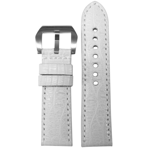 24mm White Matte Genuine Crocodile Skin - Premium Cut, Match Stitching | Panatime.com