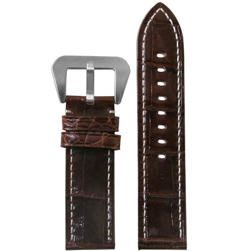 20mm Brown Glossy Genuine African Crocodile Skin -Flat, White Stitching | Panatime.com