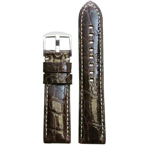22mm (XL) Dark Brown Glossy Genuine Crocodile Skin - Padded, White Stitching   Panatime.com