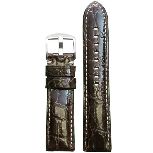22mm (XL) Dark Brown Glossy Genuine Crocodile Skin - Padded, White Stitching | Panatime.com
