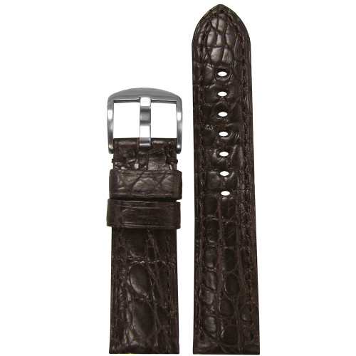 24mm Dark Brown Matte Genuine Crocodile Skin - Padded, Match Stitching | Panatime.com