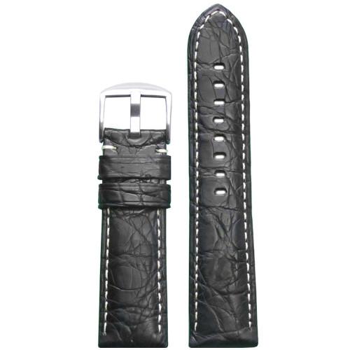 24mm (XL) Black Matte Genuine Crocodile Skin Padded Watch Strap with White Stitching | Panatime.com