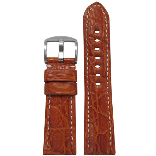 24mm (XL) Honey Matte Genuine Crocodile Skin Padded Watch Strap with White Stitching | Panatime.com