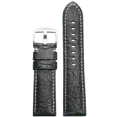 26mm Black Matte Genuine Crocodile Skin Padded Watch Strap with White Stitching | Panatime.com