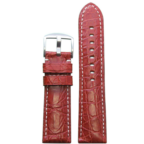26mm Rou Matte Genuine Crocodile Skin Padded Watch Strap with White Stitching | Panatime.com