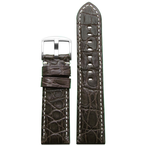 26mm (XL) Dark Brown Matte Genuine Crocodile Skin Padded Watch Strap with White Stitching | Panatime.com