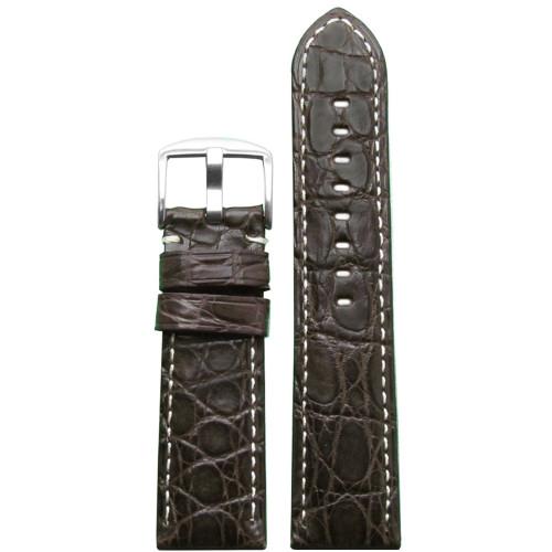26mm (XL) Dark Brown Matte Genuine Crocodile Skin Padded Watch Strap with White Stitching | Panatime.com