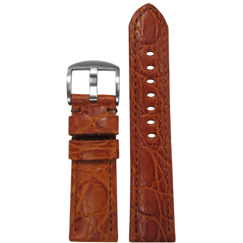26mm (XL) Honey Matte Genuine Crocodile Skin Padded Watch Strap with Match Stitching | Panatime.com