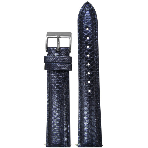 16mm Dark Blue Snake Skin, Handmade Watch Strap with Match Stitching (for Michele) | Panatime.com