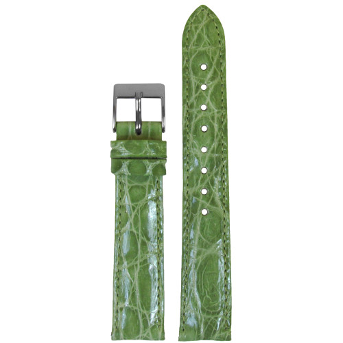 16mm Apple Green Genuine Crocodile, Handmade Watch Strap with Match Stitching (for Michele) | Panatime.com