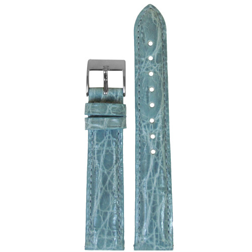 16mm Baby Blue Genuine Crocodile, Handmade Watch Strap with Match Stitching (for Michele) | Panatime.com